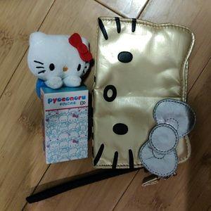 2 item bundle! Hello kitty gold wristlet holder
